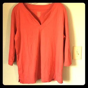 LL Bean XL 3/4 Sleeve Shirt Supima Cotton